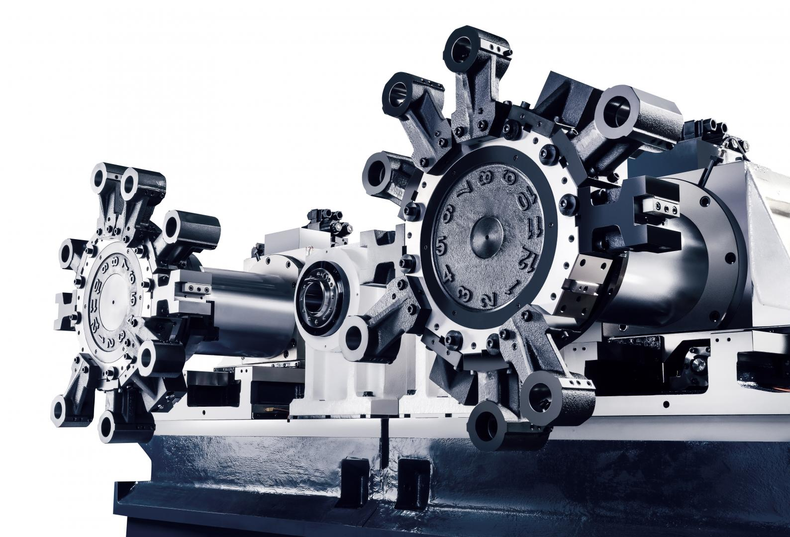 TTC-10 - Twin spindle lathe (front) with box guideways for